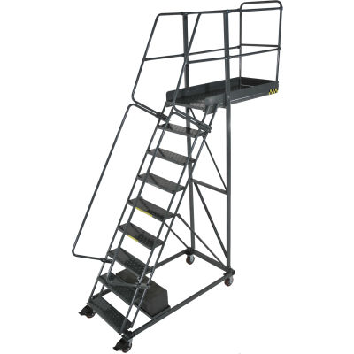 "Ballymore 9 Step Steel Cantilever Ladder -42"" Overhang, Perforated Tread - CL-9-42-P"