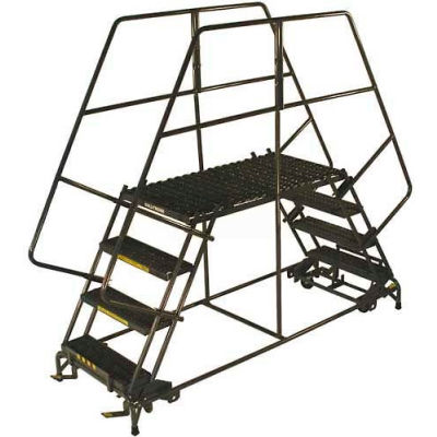 "7 Step Heavy Duty Steel Double Entry Work Platform 24""W Steps - DEP7-2460"