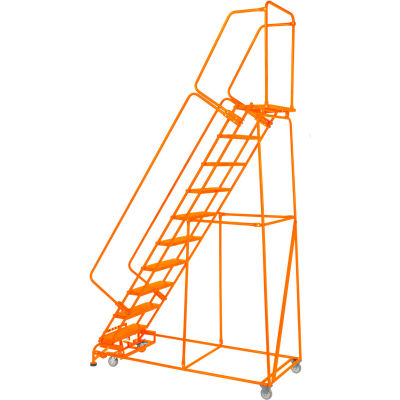 "Grip 24""W 9 Step Steel Rolling Ladder 21""D Top Step W/ Handrails Lock Step - Orange - FS093221G-O"