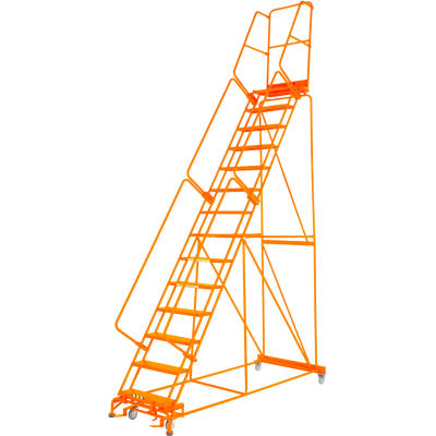 "Grip 24""W 13 Step Steel Rolling Ladder 21""D Top Step W/ Handrail Lock Step - Orange - FS134021G-O"