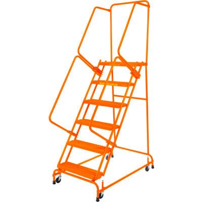 "Perforated 16""W 6 Step Steel Rolling Ladder 21""D Top Step W/ Handrails - Orange - FSH61821P-O"