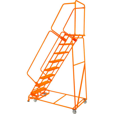 "Perforated 16""W 7 Step Steel Rolling Ladder 14""D Top Step W/ Handrails - Orange - FSH718P-O"