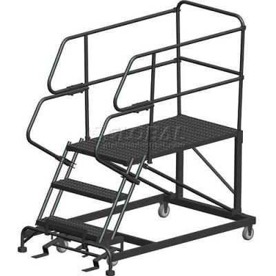 "3 Step Heavy Duty Steel Mobile Work Platform W/ Handrails - 24"" x 36"" Platform - SEP3-24-36PD"