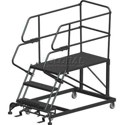 "3 Step Heavy Duty Steel Mobile Work Platform W/ Handrails - 36"" x 48"" Platform - SEP3-36-48PD"
