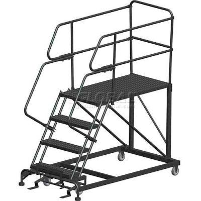 "4 Step Heavy Duty Steel Mobile Work Platform W/ Handrails - 24"" x 36"" Platform - SEP4-24-36PD"