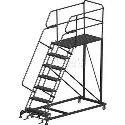 "7 Step Heavy Duty Steel Mobile Work Platform W/ Handrails - 36"" x 36"" Platform - SEP7-3636PD"