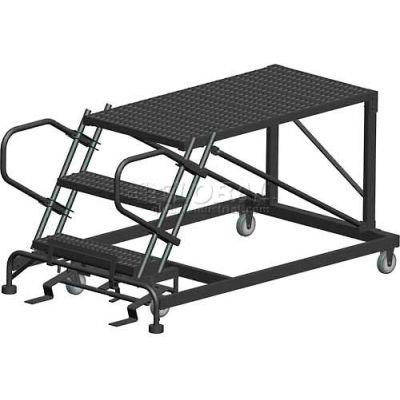 "3 Step Heavy Duty Steel Mobile Work Platform - 36"" x 36"" Platform - SNR3-36-36PD"