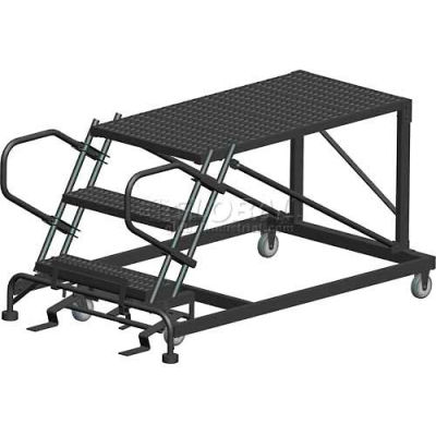 "4 Step Heavy Duty Steel Mobile Work Platform - 24"" x 48"" Platform - SNR4-24-48PD"