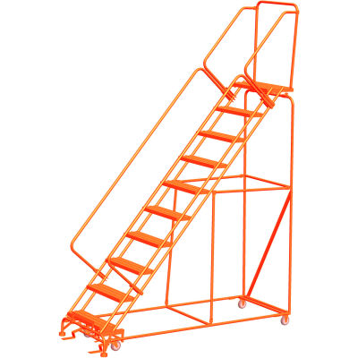 """12 Step 24""""W Steel Safety Angle Orange Rolling Ladder W/ Handrails, Perforated Tread - SW1232P-O"""
