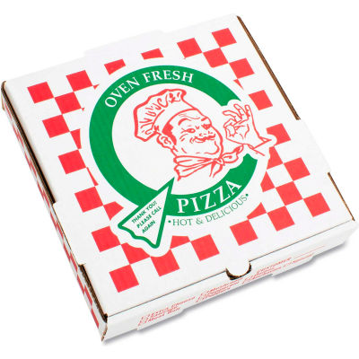 "Pizza Box Corrugated Kraft Pizza Boxes, B-Flute, White, 18"" Pizza, 18""W x 18""D x 2""H, 50/Bundle"