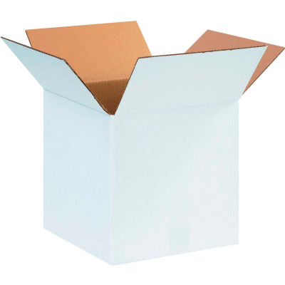 "Cardboard Corrugated Boxes 12"" x 12"" x 12"" 200#/ECT-32, White - Pkg Qty 25"