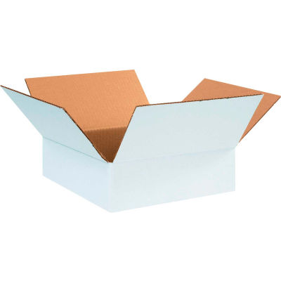"Cardboard Corrugated Boxes 12"" x 12"" x 4"" 200#/ECT-32, White - Pkg Qty 25"