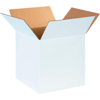 "Cardboard Corrugated Boxes 14"" x 14"" x 14"" 200#/ECT-32, White - Pkg Qty 25"