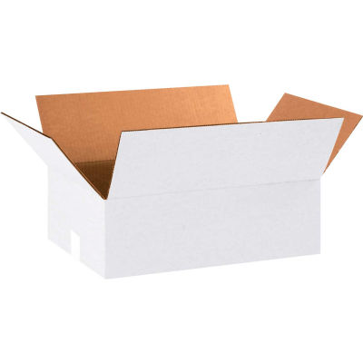 "Cardboard Corrugated Boxes 18"" x 12"" x 6"" 200#/ECT-32, White - Pkg Qty 25"