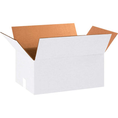 "Cardboard Corrugated Boxes 18"" x 12"" x 8"" 200#/ECT-32, White - Pkg Qty 25"