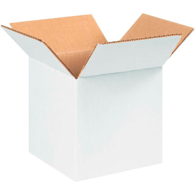 "Cardboard Corrugated Boxes 6"" x 6"" x 6"" 200#/ECT-32, White - Pkg Qty 25"