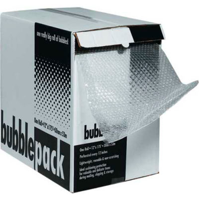 """Perforated Bubble Roll W/Dispenser, 12""""W x 65'L x 1/2"""" Thick, Clear"""