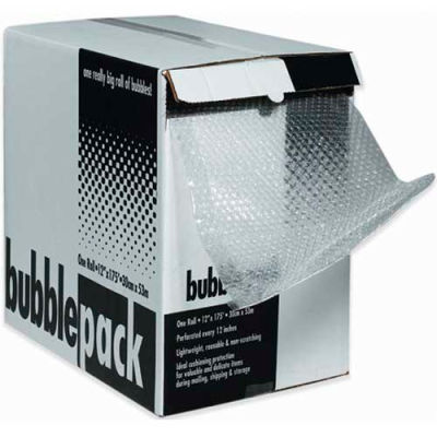 """Perforated Bubble Roll W/Dispenser, 24""""W x 175'L x 3/16"""" Thick, Clear"""