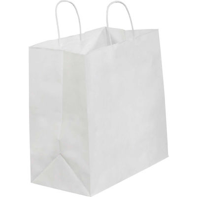 "Paper Shopping Bags, 13""W x 7""D x 13""H, White, 250 Pack"