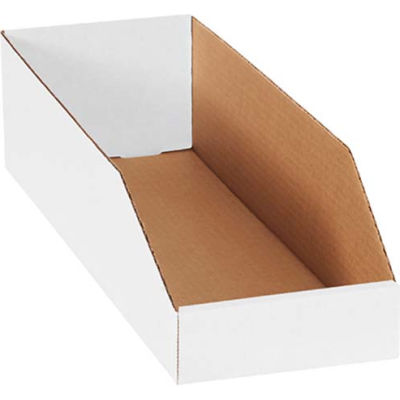 "6"" x 18"" x 4-1/2"" Open Top White Corrugated Bin Box - Pkg Qty 50"