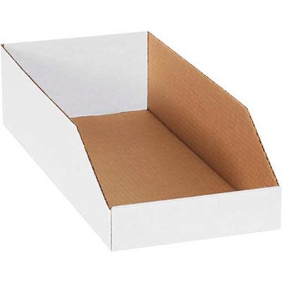 "Global Industrial™ 8"" x 18"" x 4-1/2"" Open Top White Corrugated Bin Box - Pkg Qty 50"