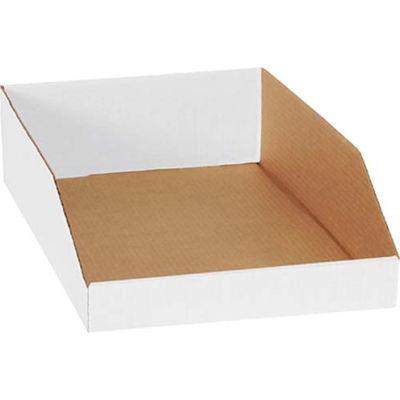 "Global Industrial™ 12"" x 18"" x 4-1/2"" Open Top White Corrugated Bin Box - Pkg Qty 50"