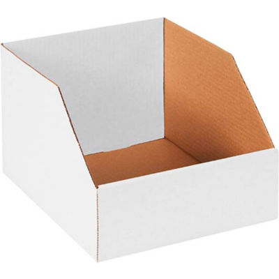 "10"" x 12"" x 8"" Jumbo Open Top White Corrugated Boxes - Pkg Qty 50"