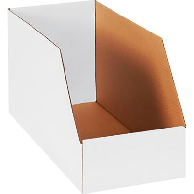 """Global Industrial™ 8"""" x 18"""" x 10"""" Jumbo Open Top White Corrugated Boxes - Pkg Qty 25"""