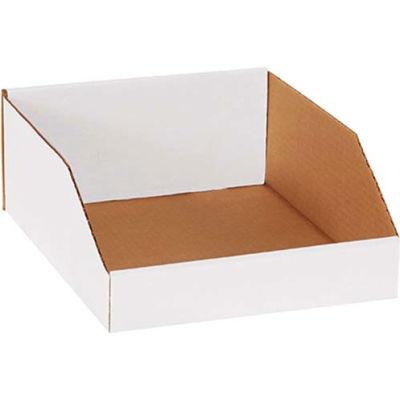 """10"""" x 12"""" x 4-1/2"""" Open Top White Corrugated Bin Box - Pkg Qty 25"""