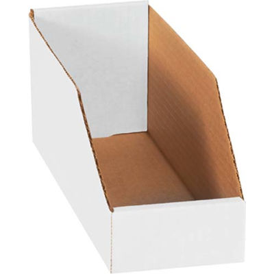 "Global Industrial™ 4"" x 12"" x 4-1/2"" Open Top White Corrugated Bin Box - Pkg Qty 50"
