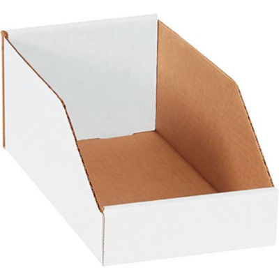 "Global Industrial™ 6"" x 12"" x 4-1/2"" Open Top White Corrugated Bin Box - Pkg Qty 50"