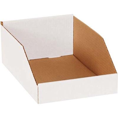 """8"""" x 12"""" x 4-1/2"""" Open Top White Corrugated Bin Box - Pkg Qty 50"""