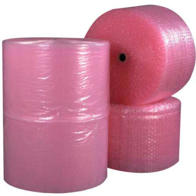 """Anti-Static Bubble Roll 12"""" x 250' x 1/2"""", Perforated, Pink, 4/PACK"""