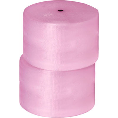 "Anti-Static Bubble Roll 24"" x 250' x 1/2"", Perforated, Pink, 2/PACK"