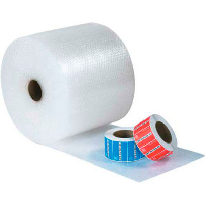 """UPSable Bubble Rolls 12"""" x 188' x 5/16"""", Non-Perforated, Clear, 4/PACK"""
