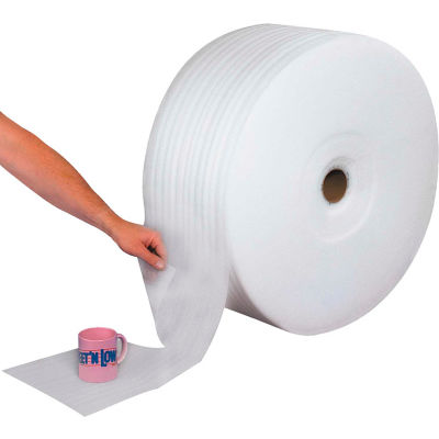 """Perforated Air Foam Rolls 24""""W x 250'L, 1/4"""" Thickness, White, 12"""" Perforation, 3 Rolls"""