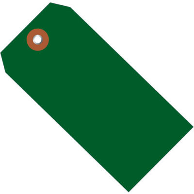 """Plastic Shipping Tag 4-3/4"""" x 2-3/8"""" Green - 100 Pack"""