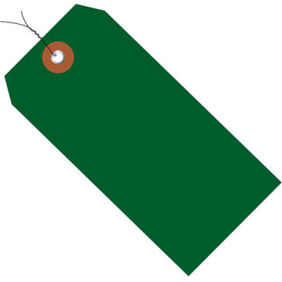 "Plastic Shipping Tag Pre-Wired 4-3/4"" x 2-3/8"" Green - 100 Pack"