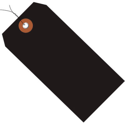 """Plastic Shipping Tag Pre-Wired 6-1/4"""" x 3-1/8"""" Black - 100 Pack"""