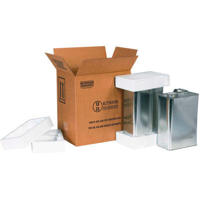 "Two - 1 Gallon F-Style Haz Mat Shipper Kit, 11-3/8"" x 8-3/16"" x 12-3/8"""