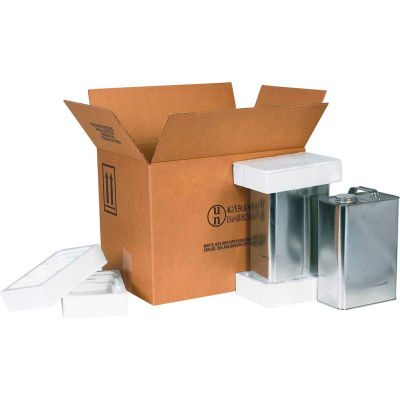 "Four - 1 Gallon F-Style Haz Mat Shipper Kit, 16-3/8"" x 11-3/8"" x 12-3/8"""