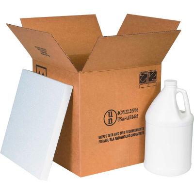"Four - 1 Gallon Plastic Jug Haz Mat Shipper Kit, 12-1/4"" x 12-1/4"" x 12-3/4"""