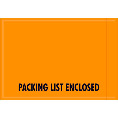 "Full Face Envelopes - ""Packing List Enclosed/Important Papers"" 4-1/2 x 6-1/2"" Orange - 1000/Case"