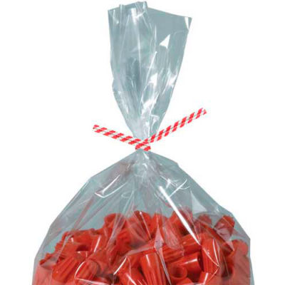 """Paper Twist Ties 6"""" x 5/32"""" Red Candy Stripe 2000 Pack"""