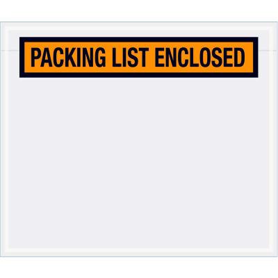 "Panel Face Envelopes - ""Packing List Enclosed"" 6-1/2 x 5"" Orange, 1000/Case"