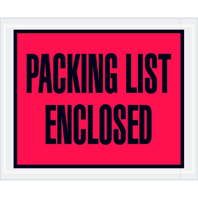 """Full Face Envelopes - """"Packing List Enclosed"""" 4-1/2 x 5-1/2"""" Red - 1000/Case"""
