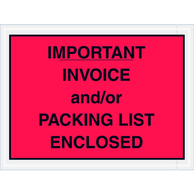 """Full Face Envelopes - """"Important Invoice and/or Packing List Enclosed"""" 4-1/2 x 6"""" Red - 1000/Case"""