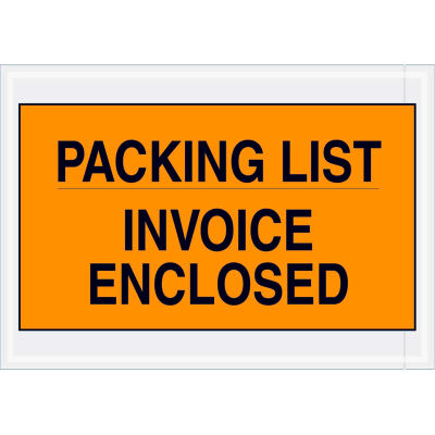 "Full Face Envelopes - ""Packing List/Invoice Enclosed"" 7 x 10"" Orange - 1000/Case"