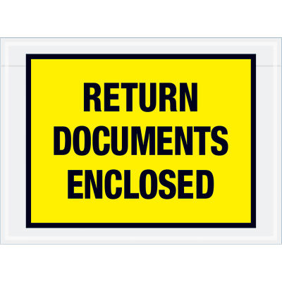"Full Face Envelopes - ""Return Documents Enclosed"" 7-1/2 x 5-1/2"" Yellow - 1000/Case"