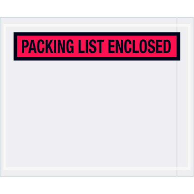 """Panel Face Envelopes, """"Packing List Enclosed"""" Print, 5-1/2""""L x 4-1/2""""W, Red, 1000/Pack"""
